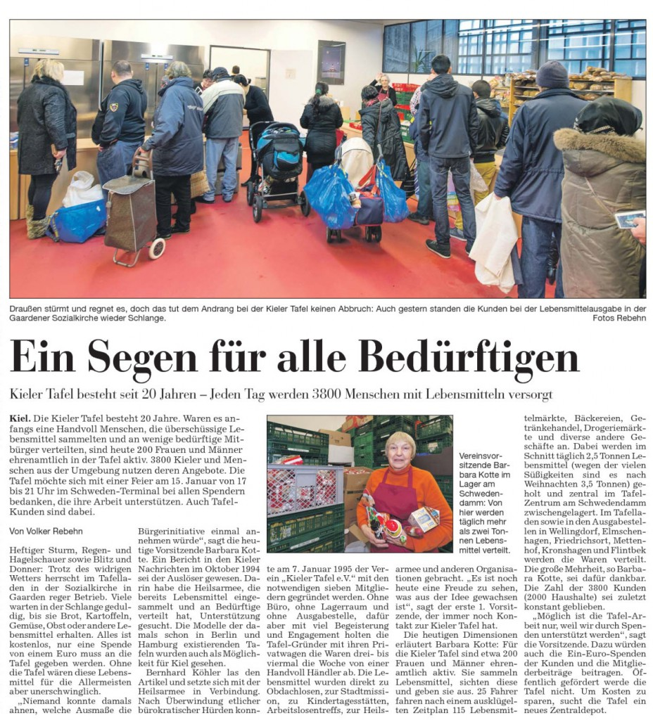 2015-01-10 Kieler Nachrichten ein Segen fuer alle Beduerftigen