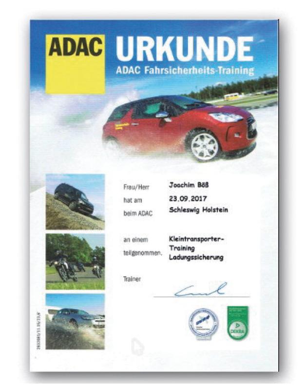 ADAC Urkunde Fahrsicherheitstraining