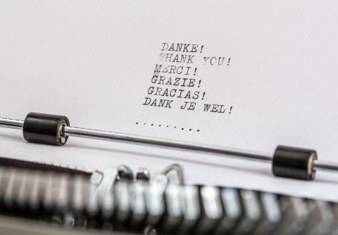 Danke auf einer Schreibmaschine