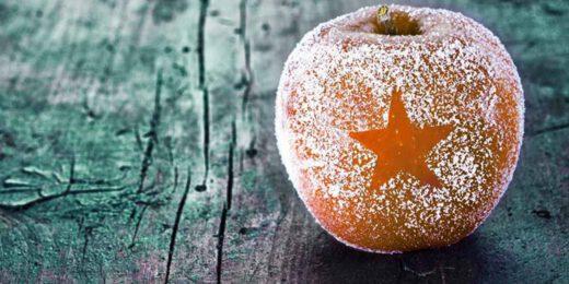 Ampfel mit Zucker und ausgestanztem Stern
